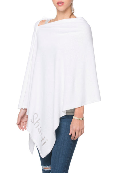 Zen Blend 2 Way Wrap in White with Namaste/Shanti Embroidery