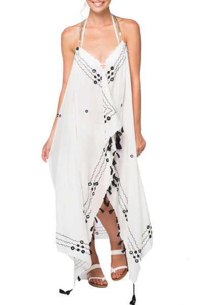 Maxi Tassel Dress in Magic Mirror Embroidery Black - Subtle Luxury