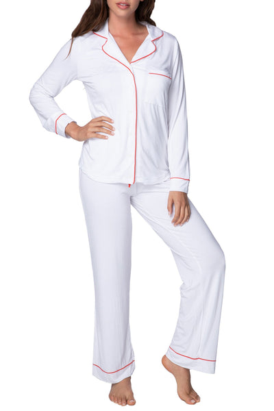Pippa PJ Set in White with Cherry Piping - Subtle Luxury