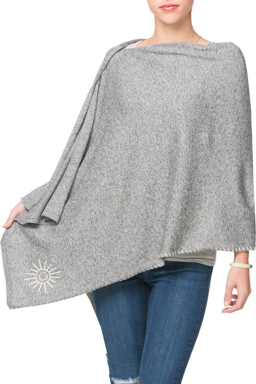 Zen Blend 2 Way Wrap in Nickel - Cloud/Sun embroidery - Subtle Luxury