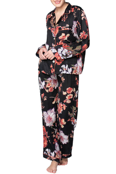 Blushing Floral PJ Set in Black