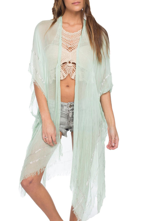Metallic Border Kimono Wrap in Mint - Subtle Luxury