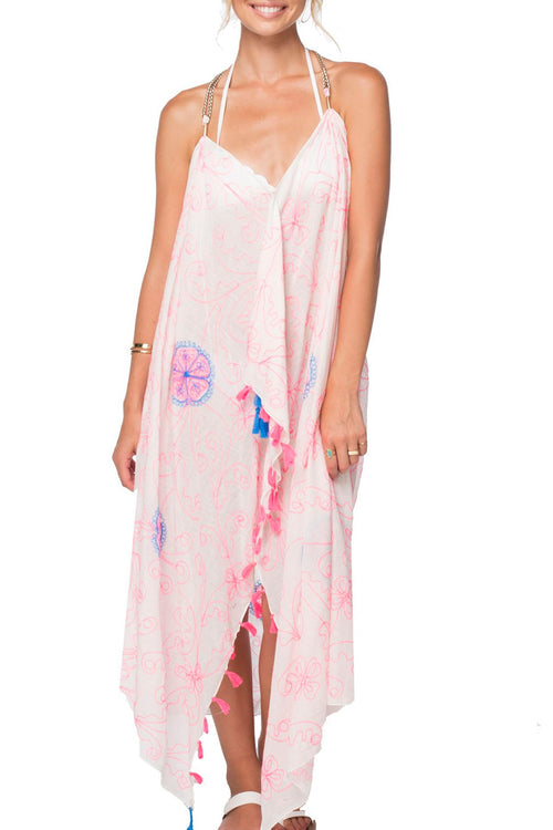 Maxi Tassel Dress in Flower Stitches Embroidery Print | cover up sun dress - Pool to Party - Subtle Luxury