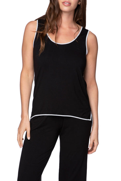 Pippa Sleep Tank in Black with Silver or Cobalt Piping