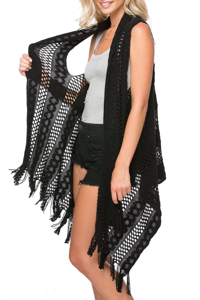 "Fringe Edge ""Stevie"" Vest in Noir"