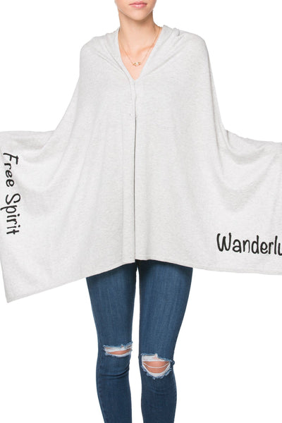 2 Way Wrap in Fog - Wanderlust/Free Spirit Embroidery - Subtle Luxury