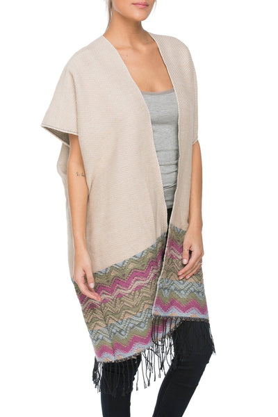 Colored Border Kimono in Ivory - Subtle Luxury