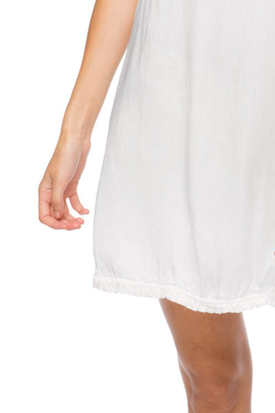 Victoria Satin V-Neck Dress in White - Loungerie by Subtle Luxury