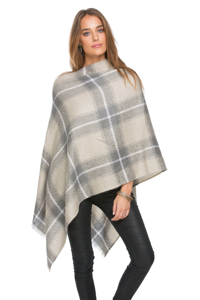 Oh So Plaid Blanket Wrap in Grey