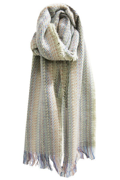 Colored Stitches Scarf/Wrap in Ivory - Subtle Luxury
