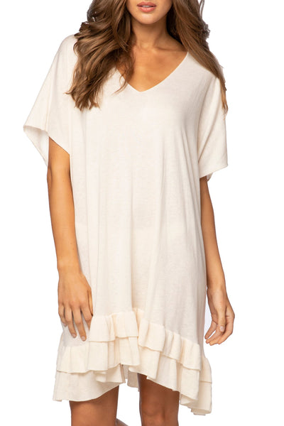 Zen Blend Cathy V-Neck Ruffle Dress