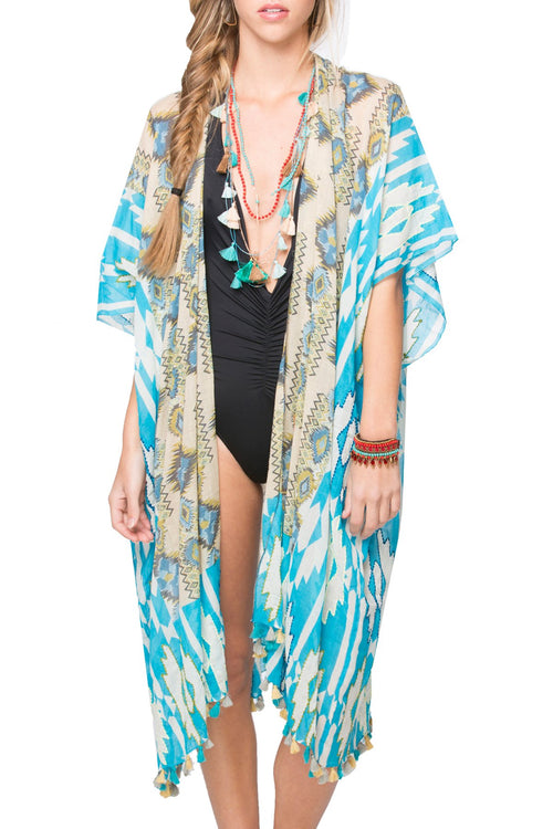 Forest Native Kimono Wrap in Sky - Subtle Luxury