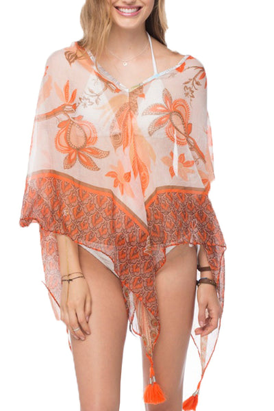 Peacock Garden Crop Tassel Coverup in Orange