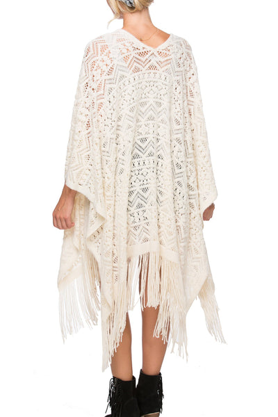 "Boho Novelty ""Joplin"" Knit Kimono in Ivory - Subtle Luxury"