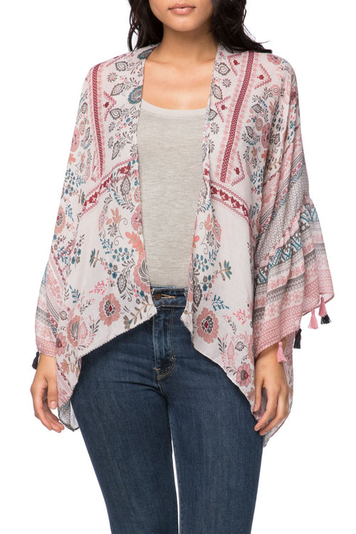 Antique Haven Cropped Bell Kimono in Pink