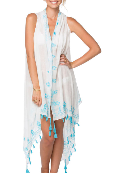 Long Draped Vest in Floral Loops Embroidery