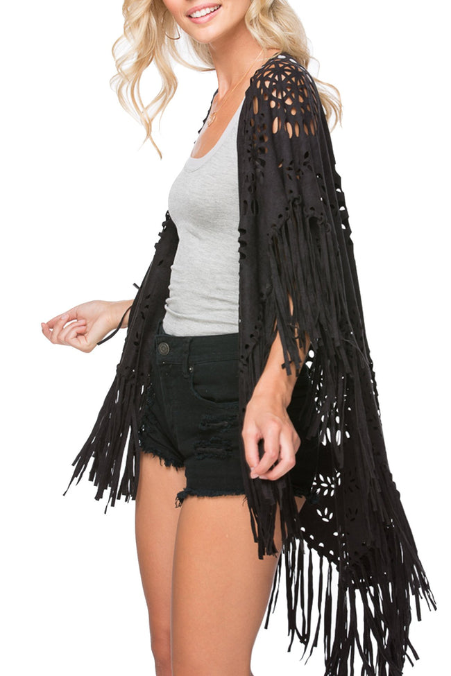 Fringe Laser Cut Poncho in Black