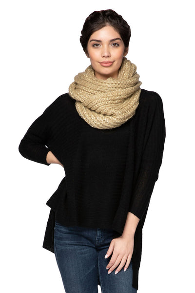 Shimmer Knit Infinity Scarf in Gold by Spun