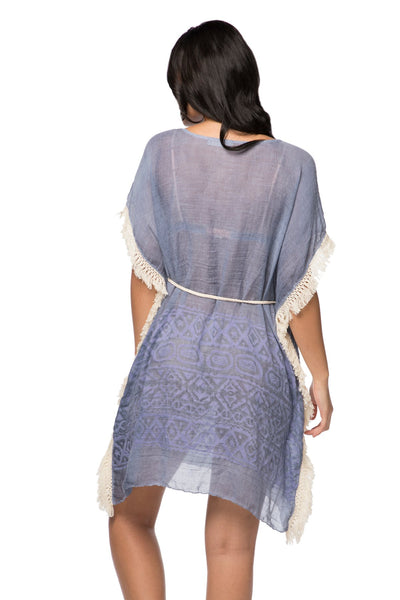 Boho Beach Fringe Dress in Dapper in Denim - Pool to Party  - Subtle Luxury