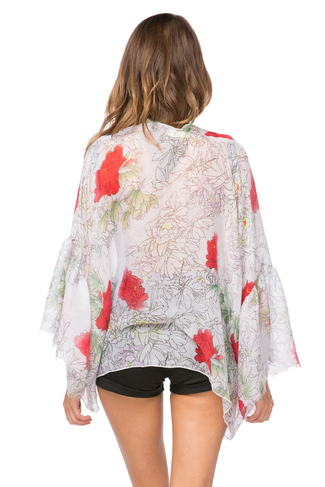 Dash of Roses Cropped Bell Kimono in White - Subtle Luxury