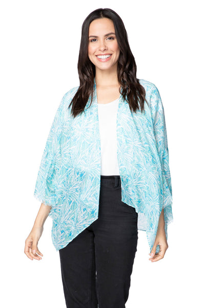 Palm Breeze Cropped Bell Kimono in Blue - Subtle Luxury