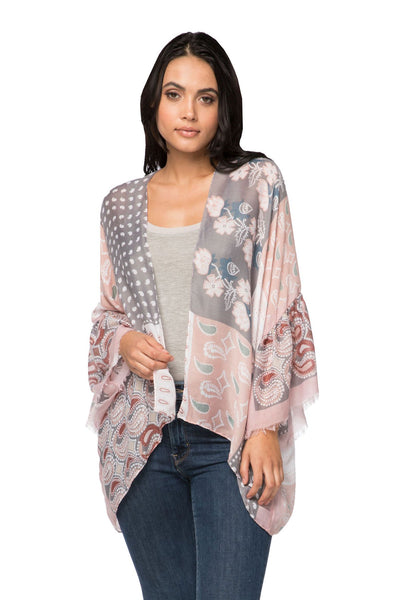 Patch It Together Cropped Bell Kimono in Pink