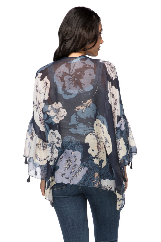 Evening Primrose Cropped Bell Kimono in Navy - Subtle Luxury