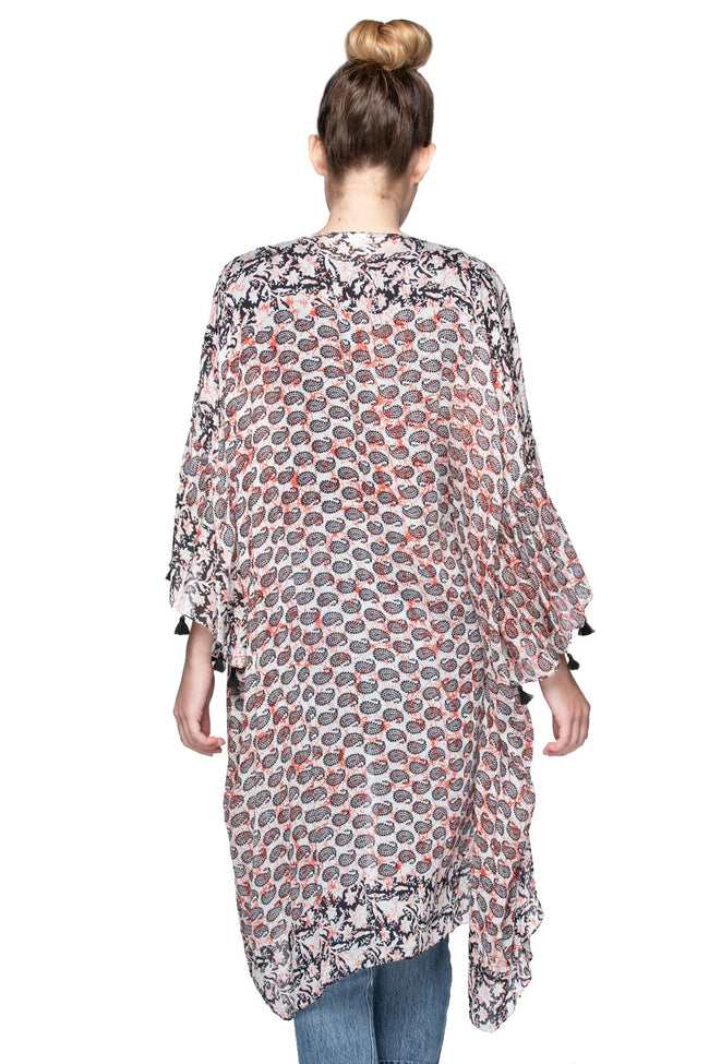 Crackling Paisley Bell Kimono in Black - Subtle Luxury
