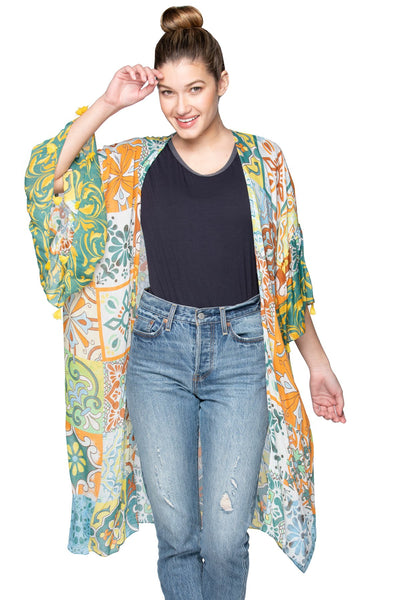 Sunrise Mosaic Bell Kimono in Green - Subtle Luxury