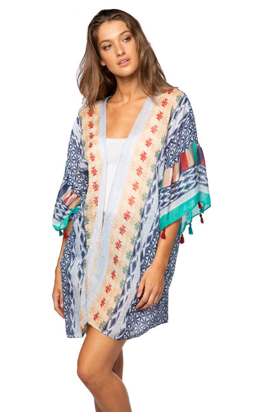 Summer Darling Bell Kimono in Blue - Subtle Luxury