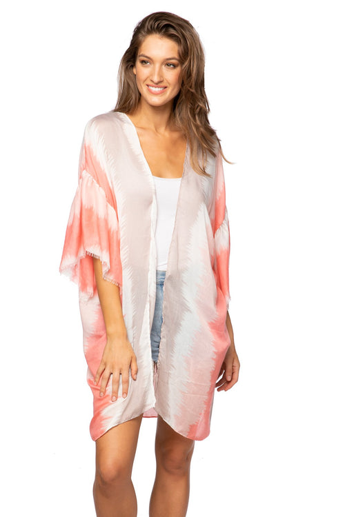 Shades of Color Bell Kimono in Pink - Subtle Luxury