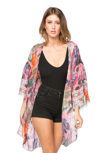 Enchanting Blooms Bell Kimono in Pink - Subtle Luxury