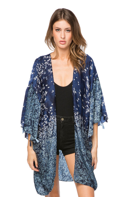 Fly Free Bell Kimono in Navy - Subtle Luxury