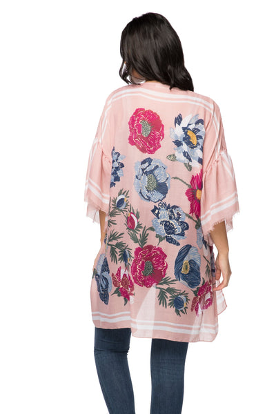 Flowers Forever Bell Kimono in Blush - Subtle Luxury