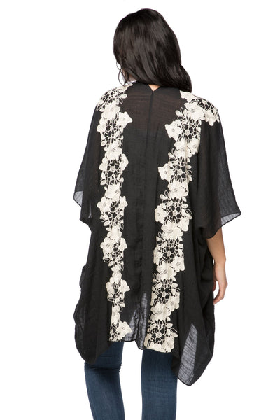 Stitched Floral Embroidered Kimono in Black - Subtle Luxury