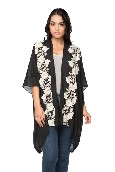 Stitched Floral Embroidered Kimono in Black