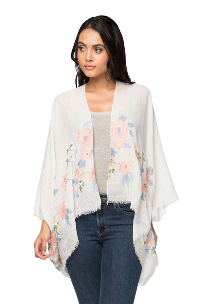 Daisy Chain Embroidered Kimono in White - Subtle Luxury