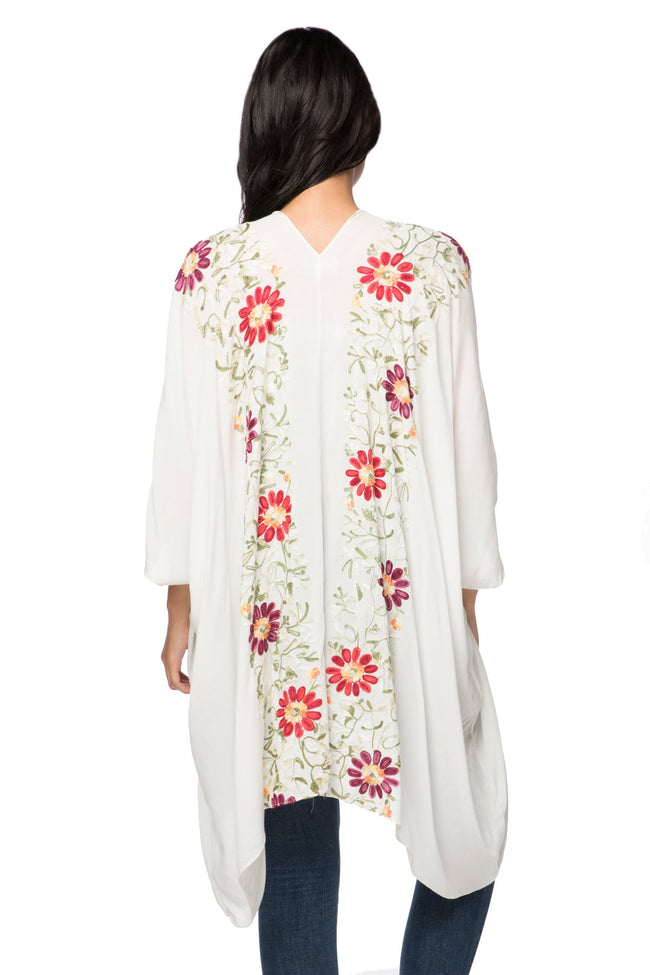 Floral Vines Embroidered Kimono in White