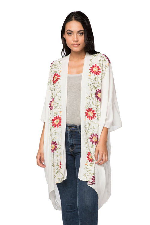 Floral Vines Embroidered Kimono in White - Subtle Luxury