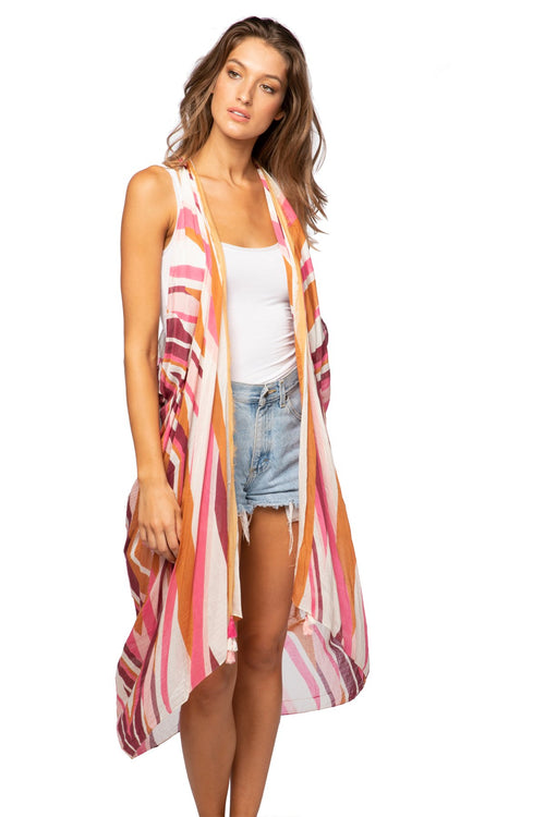 Free Spirit Vest in Crazy on You Print in Pink - Subtle Luxury
