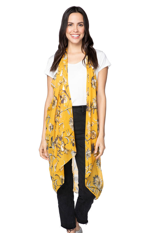 Free Spirit Vest in Mellow Yellow Print in Yellow - Subtle Luxury