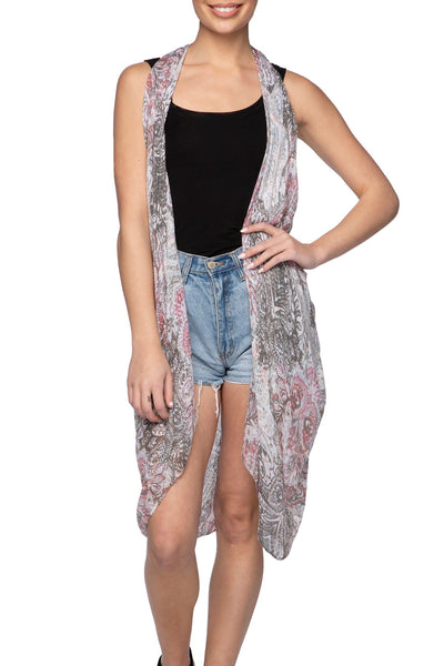 Free Spirit Vest in Touch of Grey Print - Subtle Luxury