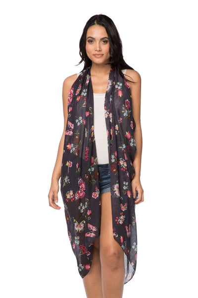 Free Spirit Vest in Night Flowers Print in Navy