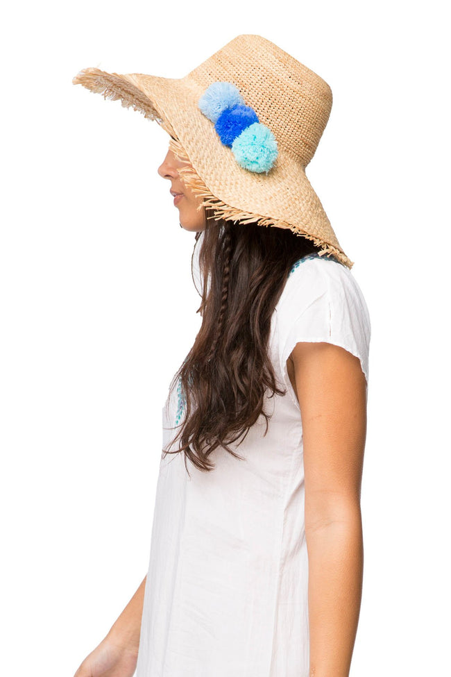 Pom Pom Hat in Natural-Pool - Subtle Luxury