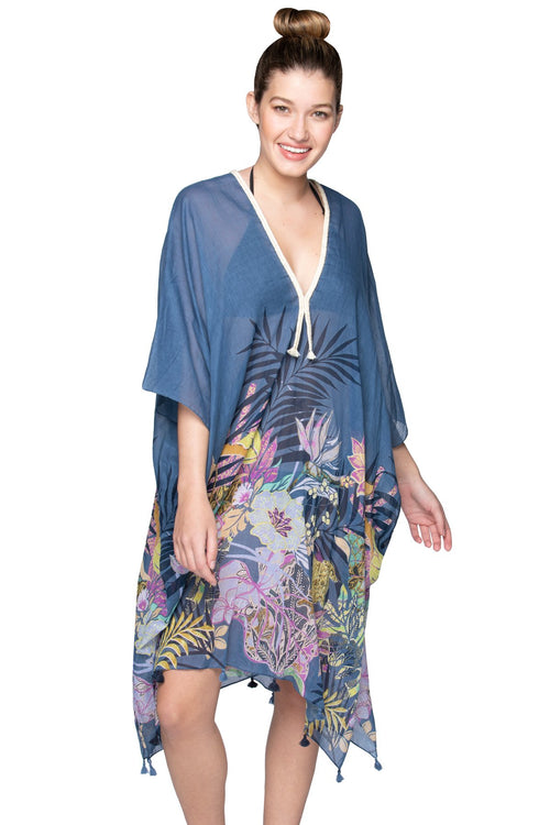 Jungle Journery Kaftan in Blue - Subtle Luxury