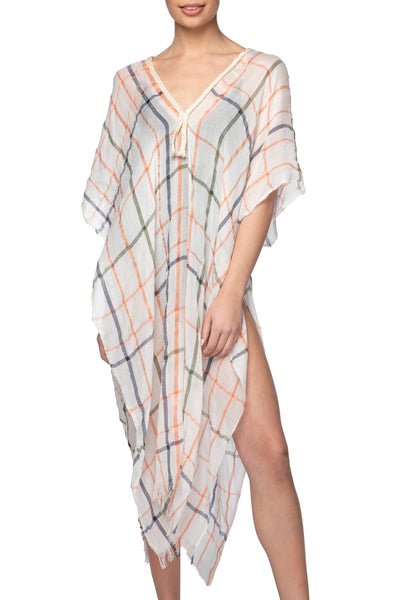 Lightweight Plaid Print Kaftan in White