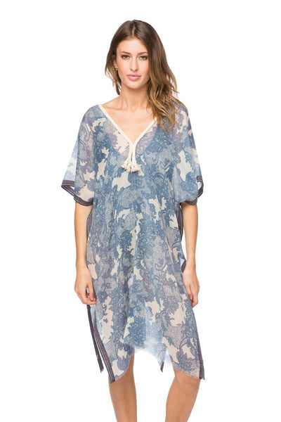 Lovely in Lace Kaftan in Blue - Subtle Luxury