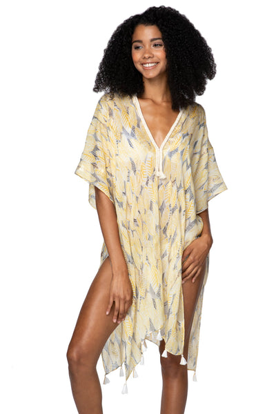 Golden Leaf Kaftan in Yellow - Subtle Luxury