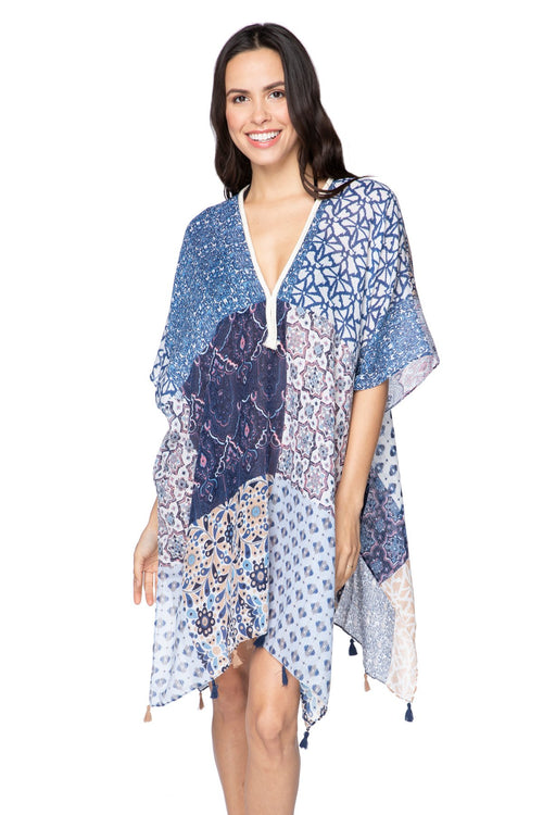Marisa Patches Kaftan in Blue - Subtle Luxury