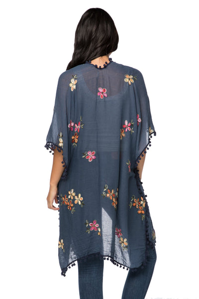 Dash of Daisy Embroidered Kimono in Navy